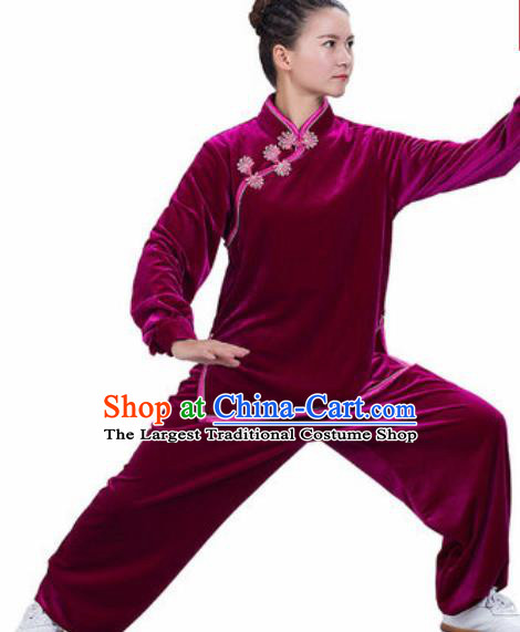 Chinese Traditional Kung Fu Competition Costume Martial Arts Tai Chi Velvet Clothing for Women