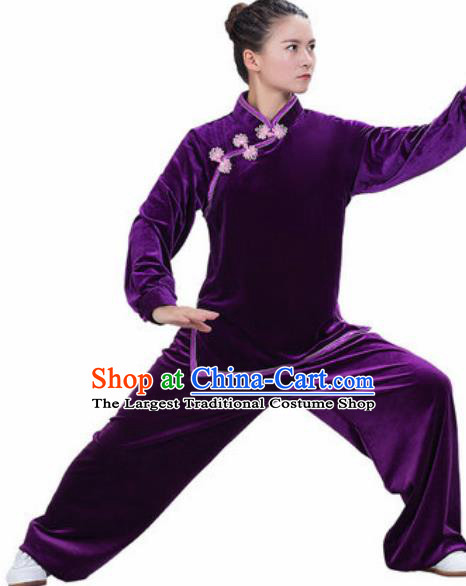 Chinese Traditional Kung Fu Competition Costume Martial Arts Tai Chi Purple Velvet Clothing for Women