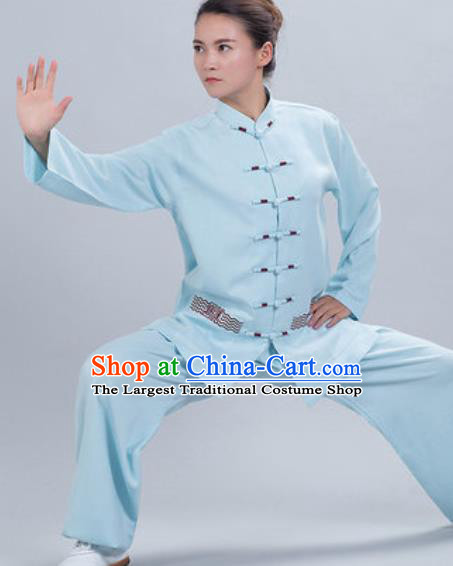 Chinese Traditional Kung Fu Competition Costume Tang Suit Tai Chi Blue Clothing for Women