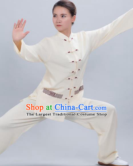 Chinese Traditional Kung Fu Competition Costume Tang Suit Tai Chi Beige Clothing for Women