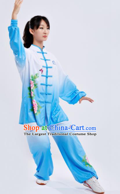 Chinese Traditional Kung Fu Competition Costume Martial Arts Tai Chi Printing Peony Blue Clothing for Women
