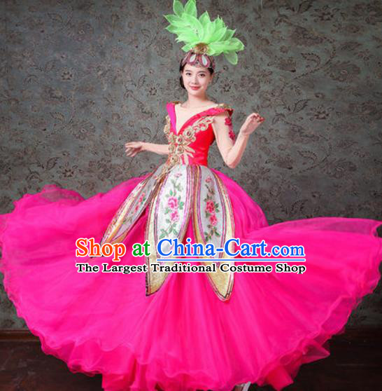 Chinese Traditional Spring Festival Gala Dance Costume Opening Dance Modern Dance Rosy Veil Dress for Women
