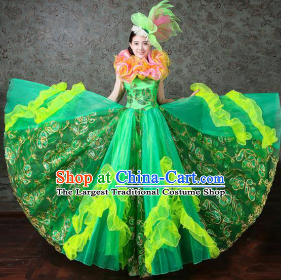 Chinese Traditional Spring Festival Gala Dance Costume Opening Dance Modern Dance Green Veil Dress for Women