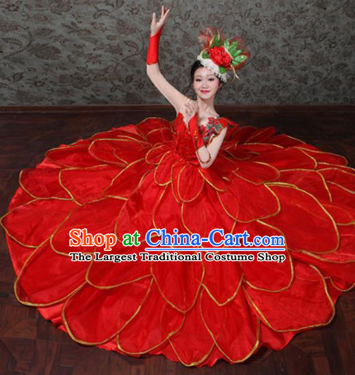 Chinese Traditional Spring Festival Gala Dance Costume Opening Dance Modern Dance Red Flower Dress for Women