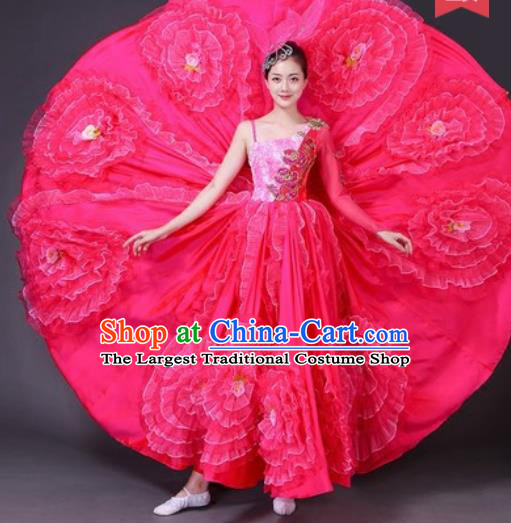 Chinese Traditional Spring Festival Gala Dance Costume Opening Dance Stage Performance Rosy Peony Dress for Women