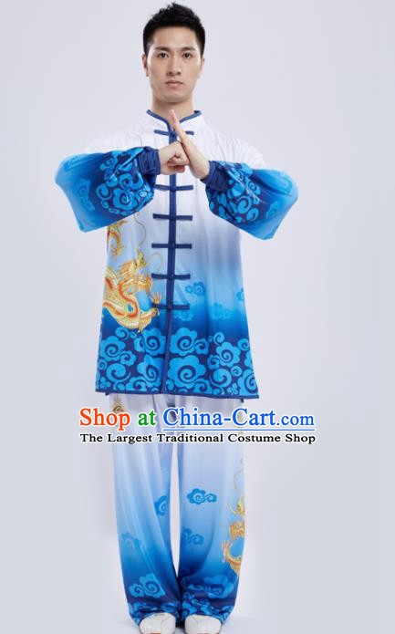 Chinese Traditional Kung Fu Competition Printing Dragon Blue Costume Tai Chi Martial Arts Clothing for Men