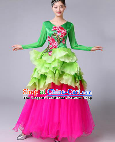 Chinese Traditional Spring Festival Gala Dance Costume Peony Dance Stage Performance Rosy Dress for Women