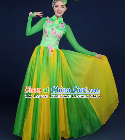 Chinese Traditional Classical Dance Costume Umbrella Dance Stage Performance Green Dress for Women