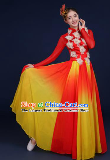 Chinese Traditional Classical Dance Costume Umbrella Dance Stage Performance Red Dress for Women