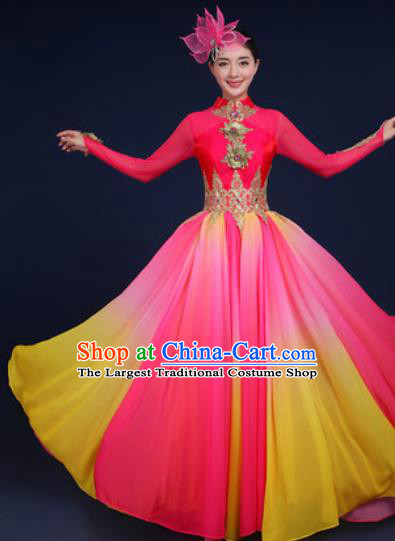 Chinese Traditional Classical Dance Costume Umbrella Dance Stage Performance Rosy Dress for Women