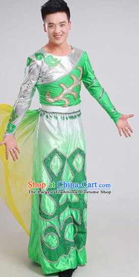 Chinese Traditional Classical Dance Green Costume Folk Dance Stage Performance Clothing for Men