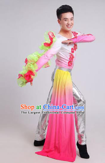 Chinese Traditional Drum Dance Pink Costume Folk Dance Stage Performance Clothing for Men