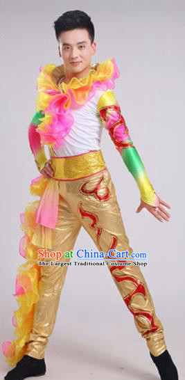 Chinese Traditional Drum Dance Golden Costume Folk Dance Stage Performance Clothing for Men