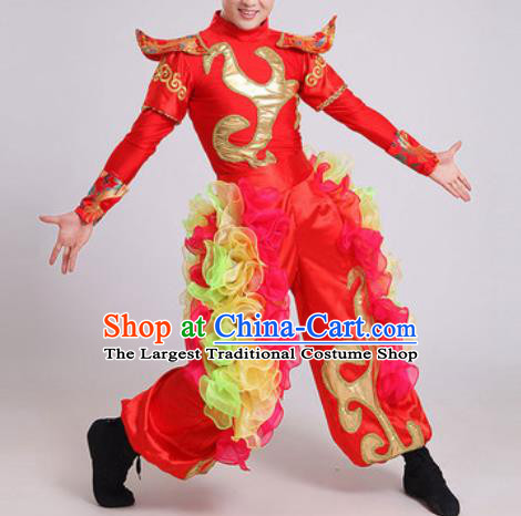 Chinese Traditional Drum Dance Red Costume Folk Dance Stage Performance Clothing for Men