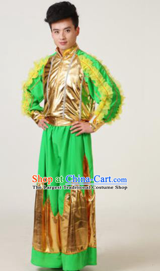 Chinese Traditional Drum Dance Green Costume Folk Dance Stage Performance Clothing for Men