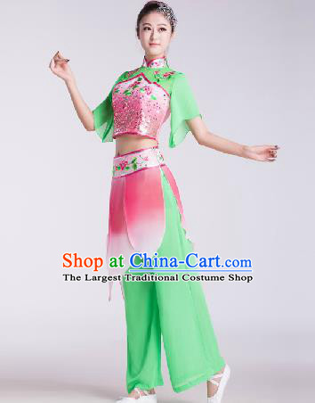 Chinese Traditional Umbrella Dance Green Costume Folk Dance Stage Performance Clothing for Women