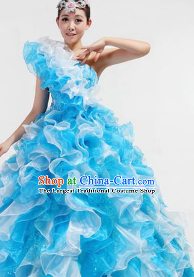 Chinese Traditional Opening Dance Blue Bubble Dress Spring Festival Gala Stage Performance Costume for Women