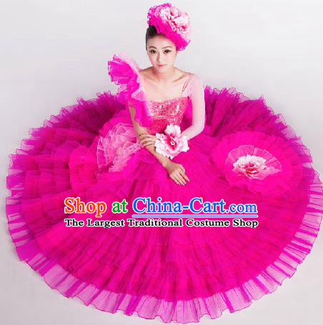 Top Grade Chorus Opening Dance Rosy Veil Dress Modern Dance Stage Performance Costume for Women