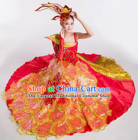 Top Grade Chorus Opening Dance Red Dress Modern Dance Stage Performance Costume for Women