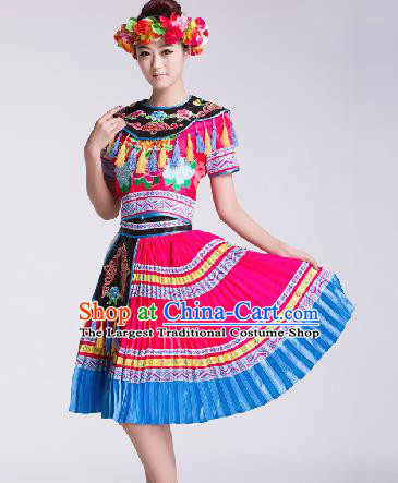 Chinese Traditional Ethnic Dance Costume Tujia Nationality Dance Stage Performance Dress for Women