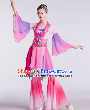 Chinese Traditional Fan Dance Pink Dress Folk Dance Stage Performance Clothing for Women