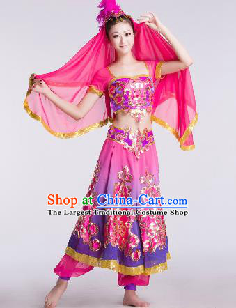 Chinese Traditional Ethnic Dance Costume Uyghur Nationality Dance Stage Performance Rosy Dress for Women