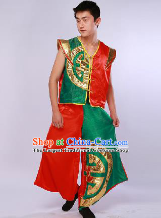 Chinese Traditional Drum Dance Red Clothing Folk Dance Stage Performance Clothing for Men