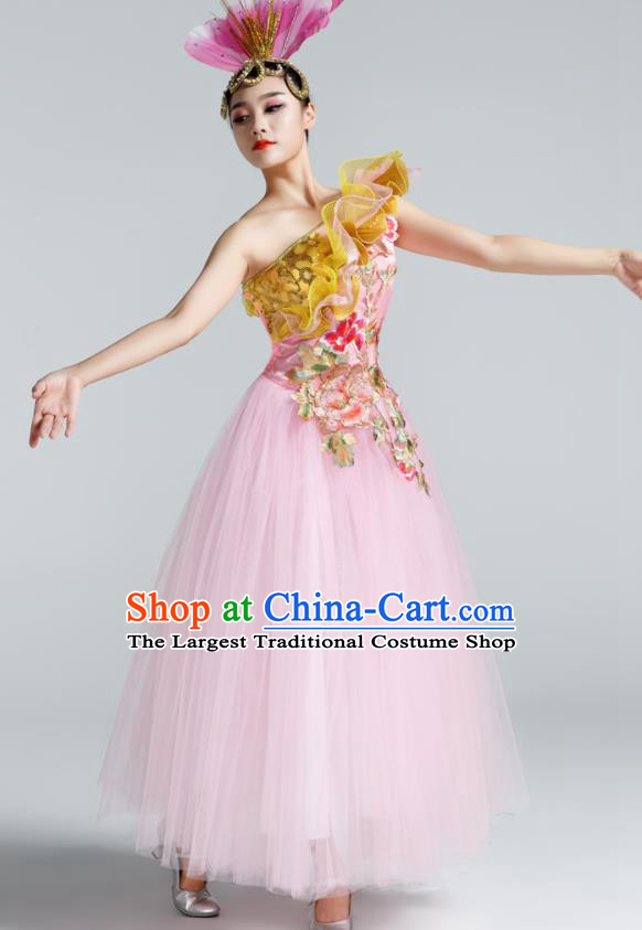 Chinese Traditional Opening Dance Pink Veil Dress Spring Festival Gala Stage Performance Chorus Costume for Women