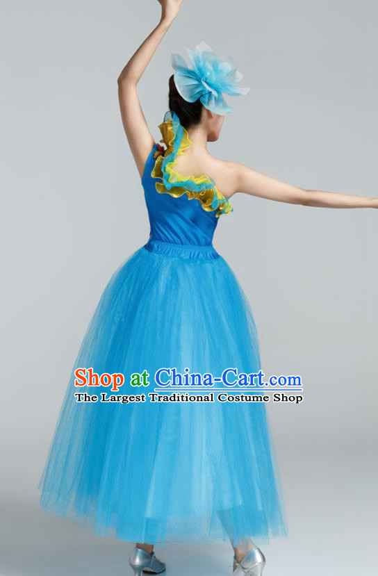 Chinese Traditional Opening Dance Blue Veil Dress Spring Festival Gala Stage Performance Chorus Costume for Women