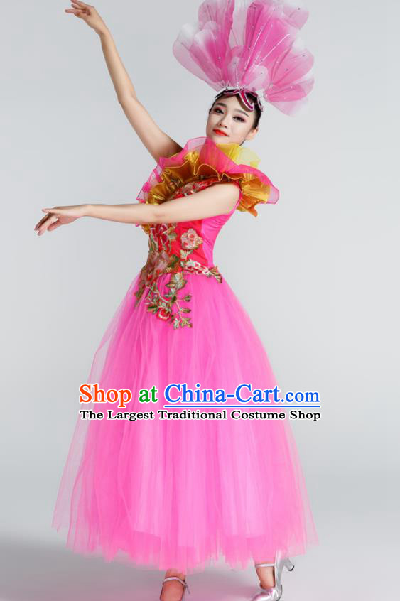 Chinese Traditional Opening Dance Rosy Veil Dress Spring Festival Gala Stage Performance Chorus Costume for Women