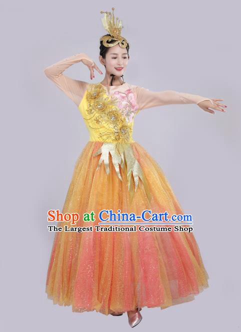 Chinese Traditional Opening Dance Orange Bubble Dress Spring Festival Gala Stage Performance Chorus Costume for Women