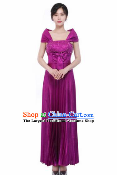 Top Grade Chorus Diamante Purple Dress Opening Dance Stage Performance Costume for Women
