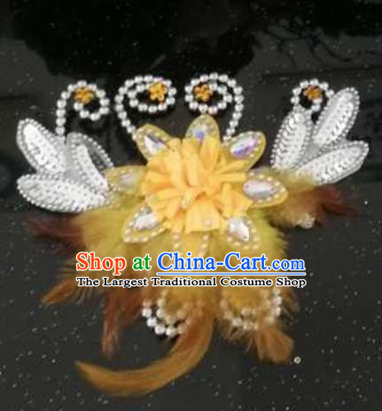 Chinese Traditional Classical Dance Hair Accessories Folk Dance Yellow Feather Hair Stick for Women