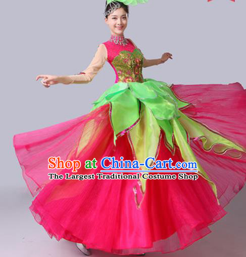 Chinese Traditional Spring Festival Gala Dance Costume Lotus Dance Stage Performance Rosy Dress for Women