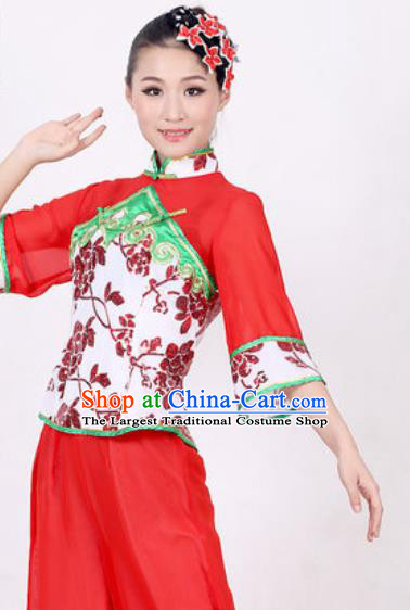 Chinese Traditional Folk Dance Costume Fan Dance Yangko Stage Performance Red Clothing for Women