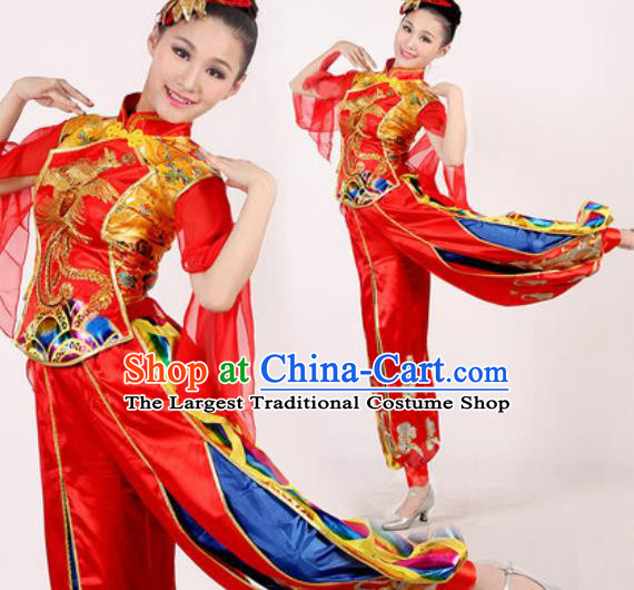 Chinese Traditional Folk Dance Costume Drum Dance Yangko Stage Performance Red Clothing for Women