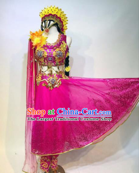 Chinese Traditional Ethnic Dance Costume Indian Dance Stage Performance Rosy Dress for Women