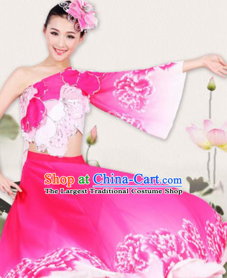 Chinese Traditional Classical Dance Costume Fan Dance Yangko Stage Performance Rosy Dress for Women