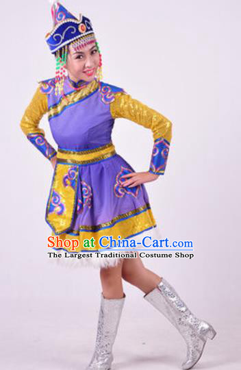 Chinese Traditional Ethnic Dance Costume Mongolian Dance Stage Performance Purple Dress for Women
