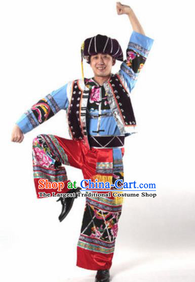 Chinese Traditional Ethnic Dance Costume Miao Nationality Dance Stage Performance Clothing for Men