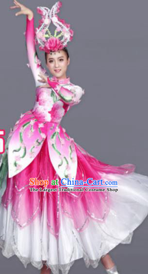 Chinese Traditional Classical Dance Costume Lotus Dance Stage Performance Pink Dress for Women