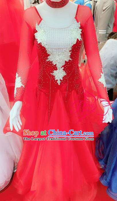 Chinese Traditional Chorus Opening Dance Red Dress Modern Dance Stage Performance Costume for Women