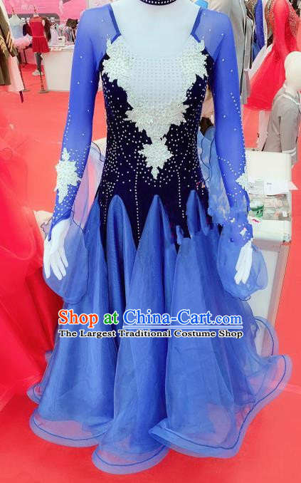 Chinese Traditional Opening Dance Blue Dress Modern Dance Stage Performance Costume for Women