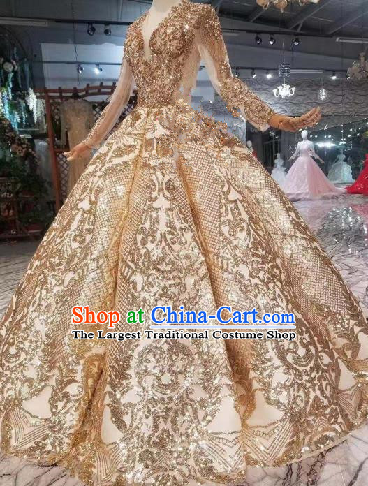 Chinese Traditional Chorus Opening Dance Golden Dress Modern Dance Stage Performance Costume for Women