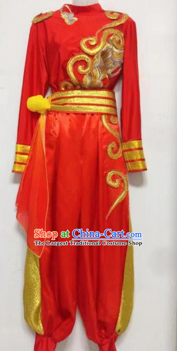Chinese Traditional Ethnic Dance Red Costume Mongolian Nationality Folk Dance Stage Performance Clothing for Men