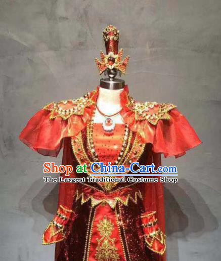 Chinese Traditional Ethnic Dance Costume Mongolian Nationality Stage Performance Red Dress for Women