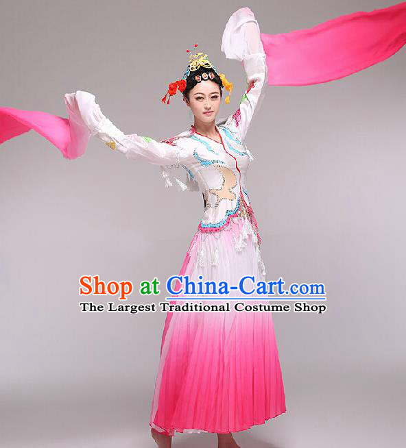 Chinese Traditional Classical Dance Costume Fan Dance Stage Performance Rosy Dress for Women
