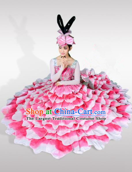 Top Grade Chorus Opening Dance Peony Dance Pink Dress Modern Dance Stage Performance Costume for Women