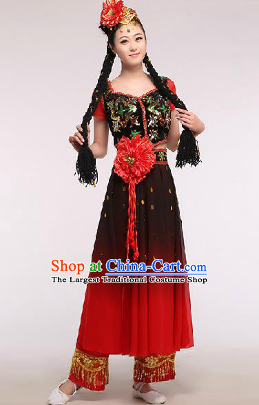 Chinese Traditional Ethnic Dance Costume Uyghur Nationality Stage Performance Dress for Women