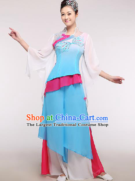 Chinese Traditional Fan Dance Costume Classical Dance Stage Performance Blue Dress for Women